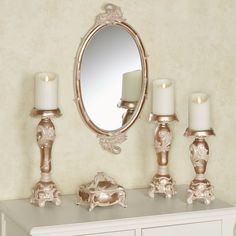 Honey florals and vines highlighted with silver lend an elegant air to the Alynna Home Accents. Each metallic mocha accent has a sophisticated appearance. Classic Dining Room Furniture, Home Accents, Candle Sconces, Mocha, Candle Holders, Wall Lights, Candles, Elegant, Luxury