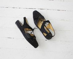 sling back flats / leather sandals / black suede by allencompany, $79.00