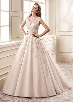 Unique Tulle V-Neck A-line Wedding Dresses With Beaded Lace Appliques