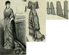 Mody Paryzkie 1880.: Soirée dress with train skirt.