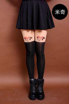 6edaf9c6064 New Fashion Women Nylon Cute Cat Totoro Knee High Tights 16 Styles Tattoo  Stockings Girls Sexy Pantyhose Over Knee Stockings