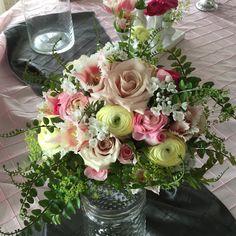 Wedding bouquet - spring colors, soft pastels, ranunculus, tulips, roses, fern, allium.