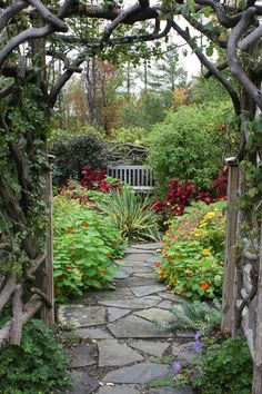 Flagstone, driftwood trellis, bench and beautiful plants. Image from http://st.houzz.com/simgs/dfe15aa801b673b8_8-3466/traditional-landscape.jpg.
