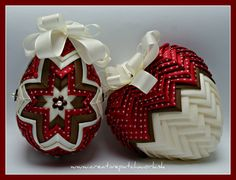 Collection elegant easter egg and heart, you can find at www. Quilted Fabric Ornaments, Quilted Christmas Ornaments, Handmade Christmas Decorations, Beaded Ornaments, Valentine Decorations, Christmas Crafts, Diy Ostern, Kanzashi, Heart Ornament