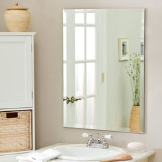 Frameless beveled mirror - A beveled wall mirror gives a room the illusion of being bigger and lighter. This frameless mirror is often heavy Vintage Bathroom Mirrors, Bathroom Mirror Design, Bathroom Ideas, Bathroom Wall, Bathtub Ideas, Master Bathroom, Glass Bathroom, Beige Bathroom, Vanity Bathroom