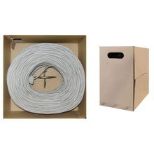 Cat 3 Phone Cable, Gray, 24 AWG, 4 Twisted Pairs, Data / Phone, Pullbox, 1000 foot