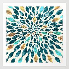 Glitter Dahlia In Gold, Aqua And Ocean Green Framed Art Print by Tangerine-tane - Vector Black - Green Framed Art, Green Art, Framed Art Prints, Canvas Prints, Green Comforter, Green Shower Curtains, Green Duvet Covers, Aqua, Green Throw Pillows