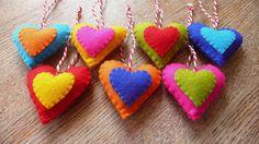 colorful felt heart ornaments