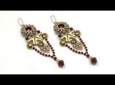 Beading4perfecftionists : Yanara earrings (Egyptian / Art Deco style) beading tutorial - YouTube
