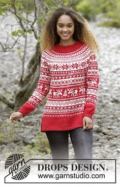 Season Greetings - Knitted Christmas jumper with round yoke and multi-coloured Nordic pattern, worked top down. Sizes S - XXXL The piece is worked in DROPS Karisma. - Free pattern by DROPS Design Baby Knitting Patterns, Designer Knitting Patterns, Jumper Knitting Pattern, Jumper Patterns, Free Knitting, Crochet Patterns, Knitting Sweaters, Knitted Christmas Jumpers, Christmas Knitting