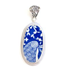 Broken China Jewelry Spode Blue Italian Tall Oval Sterling Pendant