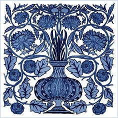 Featured Tile: 1 August  May Morris Blue and White Flower Pot Tile.The William Morris Tile adaptations of May Morris flower pot are registered with the US Copyright office. You are free to use them for non-commercial purposes.