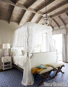 Think this is really romantic and beautiful - love the ceiling...but I HATE the carpet!  Definitely need hardwood floors with some nice natural-fibre carpets - maybe even overlapping oriental carpets.  #Decor #Bedroom #Ceiling #Beams #Carpet