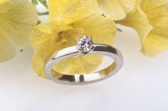 Diamond Engagement Ring. White Gold Solitaire Diamond Ring. €1.075,00, via Etsy.