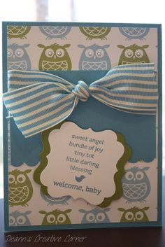 Welcome Baby handmade card  Stampin' Up  by DeannsCreativeCorner, $3.50