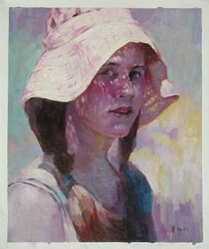 Girl with white hat.