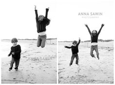 Jump shots with kids! Watch Hill, RI Napatree Point  golden hour sessions--on the beach at sunset Family photo sessions by Anna Sawin Photography www.annasawin.com