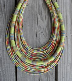 OOAK Pastel Summer yarn-wrapped rope necklace / tribal / hippie / bohemian / thread-wrapped / pastel / rope