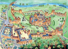 A wonderful hand drawn map of Alnwick Castle.