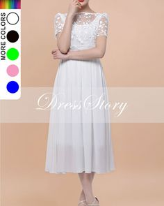 Embroidered White Chiffon Dress  White Midi Dress  by DressStory, $129.99 comes in several colors dress story Etsy