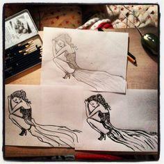 #fashion #fashionillustration  #copy #copying #illustration #drawing #graffit #stabilo #tus #girl #sad #blackandwhite #dress