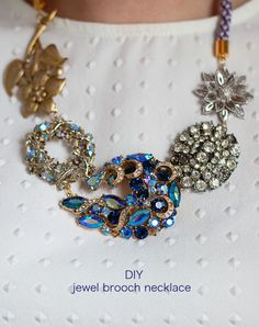 Lotts and Lots | A Modern Jewellery Making Blog : DIY - jewel brooch necklace