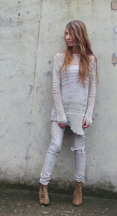silver sweater silver grunge sweater loose knit Cotton by ileaiye