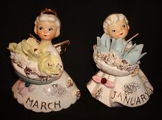 Vintage Geo Z Lefton Affodil Aquamarine 489 March January Month Angel Figurines