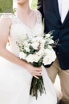 Jessica's simple white bouquet will never go out of style. www.jademcintoshflowers.com.au Fall Bouquets, Wedding Bouquets, Wedding Dresses, Favorite Color, Going Out, Bright, Autumn, Jade, Neutral