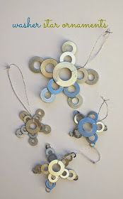 Use small washers from the hardware store to make these cute DIY star ornaments. These Christmas ornaments are so tactile and fun for kids to make - oh, and they are inexpensive! Christmas Ornaments To Make, Noel Christmas, How To Make Ornaments, Homemade Christmas, Christmas Projects, Holiday Crafts, Christmas Decorations, Industrial Christmas Ornaments, Christmas Images