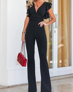 Solid Plunge Flutter Sleeve Scrunch Flared Jumpsuit long dress for short girl,casual summer outfit ideas,party dresses Sequin Dresses,Ribbed Jumpsuit Lang, Elegant Jumpsuit, Short Jumpsuit, Long Jumpsuits, Jumpsuits For Women, Womens Jumpsuits Formal, Winter Jumpsuits, Casual Summer Outfits, Romper Outfit