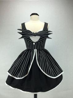 The Nightmare Before Christmas Jack Skellington Inspired Handmade Halloween Tuxedo Dress Full Gather