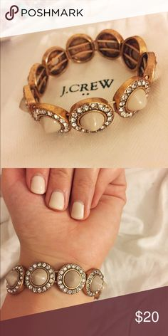 J. Crew Studded Jewel Bracelet Cream/Taupe colored studs on an elastic and. Elegant and perfect for the holidays! Hardly worn and great condition. J. Crew Jewelry Bracelets