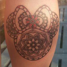 Mandala Minnie Mouse tattoo. Done by Louise Botterrill in Black Dragon tattoo studio, newton abbot, Devon :)