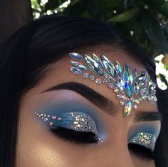 Eye makeup, gem makeup, jewel makeup, rave makeup, mermaid fantasy make Gem Makeup, Jewel Makeup, Rave Makeup, Makeup Goals, Sparkle Makeup, Exotic Makeup, Beauty Makeup, Hair Beauty, Peacock Makeup