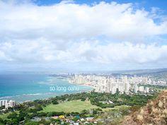 The view of Honolulu from the top of Diamond Head, Oahu, Hawaii.