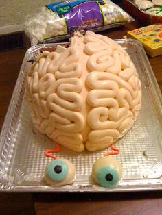 """Our Neuroscience Club participated in the chocolate festival here at our university so I made this brain cake ... It's made of 3 layers of devil's food cake, carved into the dome shape and covered with homemade dyed fondant."""