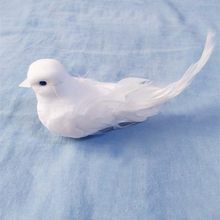 6 White 4.5cm Doves Birds On Wire Wedding Doves Real Feather Tail