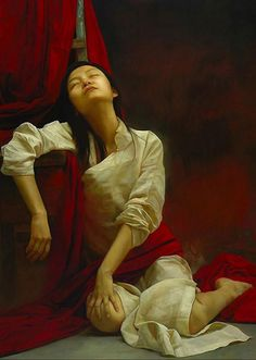 Liu Yuanshou is award-wining Chinese painter who studied oil painting in the Capital Normal University of Beijing in 1991. His paintings are dominated with realistic portraits with striking emotions in Chinese red theme.