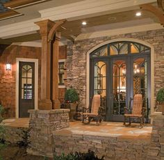 Elegant Craftsman Style Interiors to Give Warmth and Strength : Rustic Craftsman Style Interiors Home Side Porch Stone Wall