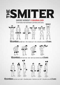 The Smiter, free, very difficult workout by Darebee Entraînement Musculaire Fitness Workouts, Fitness Herausforderungen, Weight Training Workouts, Gym Workout Tips, Workout Challenge, Arm Workout Men, Arm Workouts For Men, Easy Daily Workouts, Men Exercise