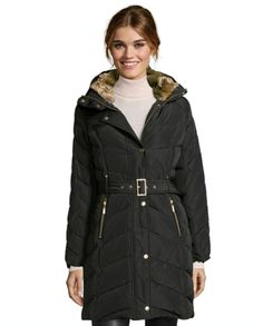 Cole Haan Womens Black Mid Length Chevron Quilted Down Jacket XS-S-M Winter Coat…
