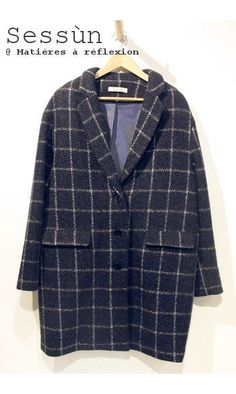 Sessun manteau Oncle Georges bleu marine #sessun #checkered #coat