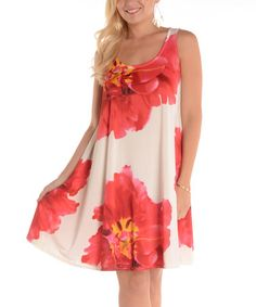 Another great find on #zulily! Orange & White Floral Sleeveless Tunic - Plus #zulilyfinds