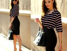 1001 ideas for a dress code at work Black Skirt Outfits, Dress Outfits, Fashion Dresses, Cute Outfits, Work Fashion, Fashion Models, Fashion Looks, Burgundy Skirt, Lined Jeans