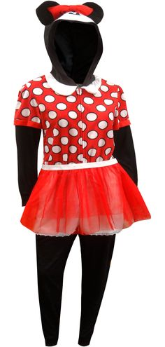 3a8c0cb66 WebUndies.com Minnie Mouse Fleece Onesie Pajamas With Hood and Skirt Fleece  Pajamas, Onesie