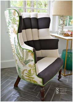 Front & Back Pattern Chair Makeover | A Storied Style | striped chair, botanical back