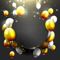 Luxury background with gold and silver balloons on black bac Gold And Black Background, Luxury Background, Frame Background, Happy Birthday Frame, Birthday Frames, Banner Aniversario, Birthday Background Design, Birthday Invitation Background, Celebration Background