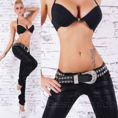SEXY BLACK LEATHER LOOK JEANS SKINNY PANTS TROUSERS Including Belt Size S M L XL #Red17 #SlimSkinny