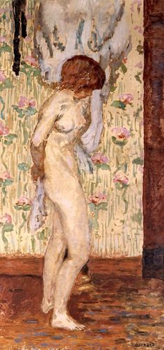 Nude with Rose Patterned Curtain  -  Pierre Bonnard     French, 1867-1947    Oil on board